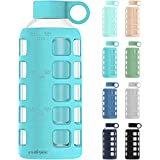 Premium Glass Water Bottle with Silicone Sleeve and Stainless Steel Lid Insert