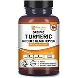 Organic Turmeric Curcumin 1440mg with Black Pepper & Ginger - 120 Vegan Turmeric Capsules High Strength (2 Month Supply) I Ma