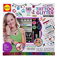 ALEX Toys - Spa Fun, Tattoo's & More, Ultimate Glitter Tattoo Party Activity Kit with (10) Stencils and (6) Colors of Glitter, A799U by Alex Toys [並行輸入品]