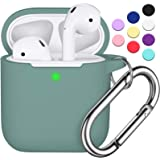 AirPods Case Cover with Keychain, R-fun Full Protective Silicone AirPods Accessories Skin Cover for Women Girl with Apple Air