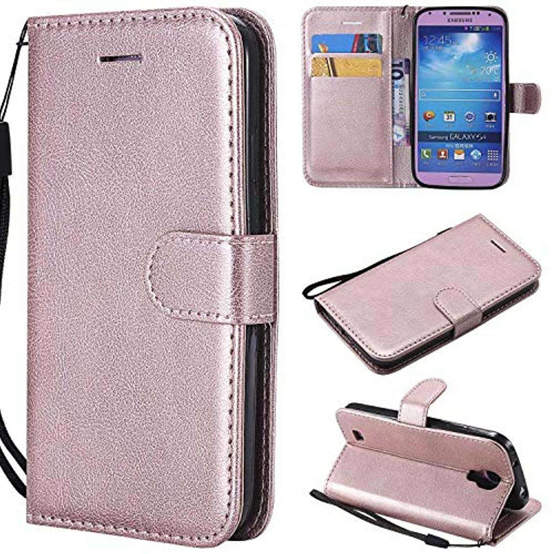 ステップいたずらオレンジGalaxy S4 ケース手帳型 OMATENTI レザー 革 薄型 手帳型カバー カード入れ スタンド機能 サムスン Galaxy S4 おしゃれ 手帳ケース (4-ローズゴールド)