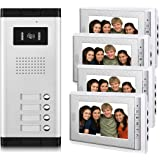 """AMOCAM Video Intercom Entry System, Wired 7"""" LCD Monitor Video Door Phone Kits, 4 Units Apartment Video Doorbell, Support Mon"""