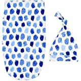 SuperiMan Hospital Swaddle Sack Hat Set,Receiving Blanket for Newborns Baby,Perfect for Girls and Boys (Blue Dots)