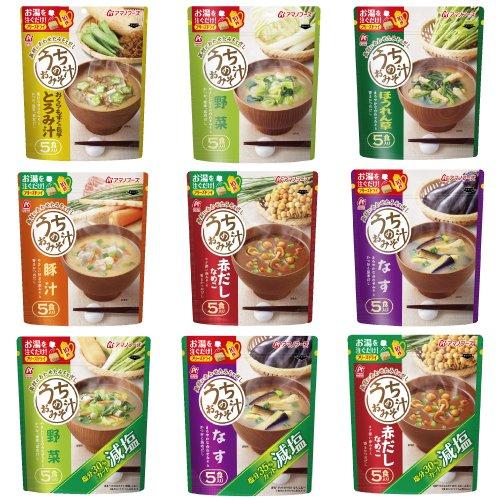 アマノフーズ フリーズドライ うちの 味噌汁 9種類 60食 セット ( なす ・ なめこ ・豚汁 ・ 野菜 ・ ほうれん草 ・とろみ汁・減塩なす ・ 減塩なめこ ・減塩野菜