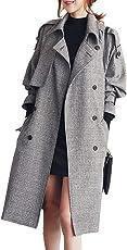 JHIJSC コート ロング レディース ジャケット チェック トレンチコート 秋冬 防寒 大きいサイズ