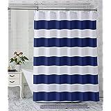 AmazerBath Fabric Shower Curtain, Navy Stripe Polyester Fabric Shower Curtains Decorative Curtains for Bathroom Hotel Quality