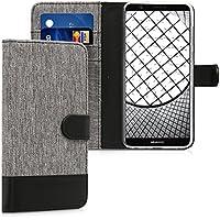 kwmobile Huawei Enjoy 7S / P Smart 用 ケース - スマホカバー 手帳型 PUレザー - 携帯 保護ケース カードポケット スタンド 付き