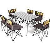 折り畳み テーブル チェア 6脚セット アウトドア キャンプ レジャー 専用キャリーバッグ セットレジャー キャンプ ピクニックテーブル アルミテーブル キャンプ アウトドア 椅子 背もたれ付き ピクニック ベンチセット組立簡単 軽量 持ち運び便利