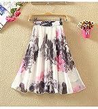 (チェリーレッド) CherryRed レディース ファッション スカート 春夏 シンプル きれいめ 膝丈 花柄 シフォン M 6#