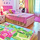 [LELVA]LELVA® LELVA Cartoon Castle Bedroom Rugs,Delicate Little Flowers Bedroom Floor Rugs,Cute Colorful Cartoon Kids [並行輸入品]