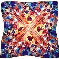 Multicolour Poppy Print Thick Silk Square Scarf