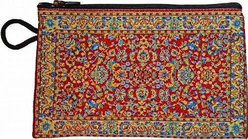 ペルシャ絨毯(トルコ絨毯)柄ポーチ(中)財布・iPhoneスマホケース (レッド×ライトブルー)