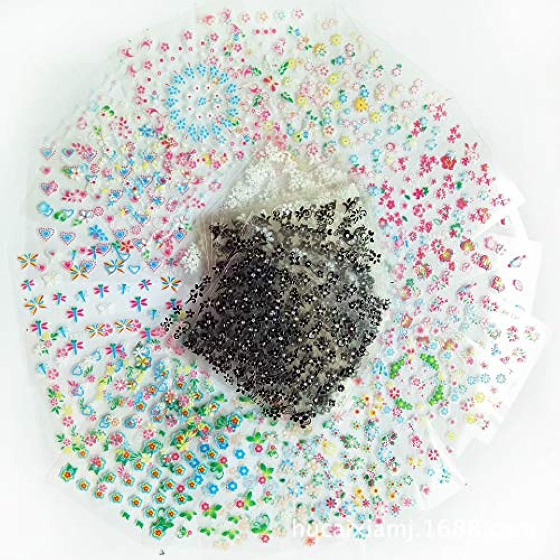 ステーキ波紋ペナルティSnner 50枚花柄ネイルアートシール (黒15枚+白15枚+ほか20枚)
