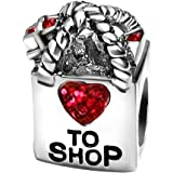 T50Jewelry Heart to Love Shop Charms Valentine Beads for Bracelets