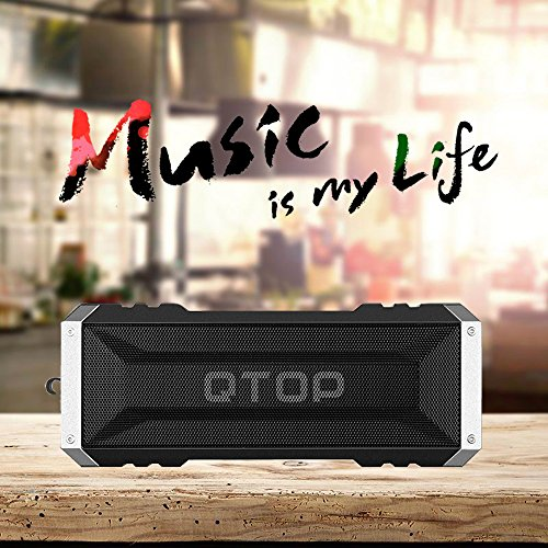 Qtop Bluetoothスピーカー Bluetooth 4.0 20W出力 iPhone, iPad, Samsung, Nexus, HTCなど対応-ブラック 【IPX4防水&防塵認証/最大25時間持続/18ヶ月保証】 Qtop