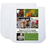 2 Pack - 80 Micron Nut Milk Bag - 12X12 Inches - Multiple Usage Reusable Food Strainer, Cold Brew Coffee Bag Cheesecloth, Foo
