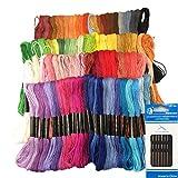 とにかく高発色 カラフル刺繍糸 100色 100束 刺繍針セット クロスステッチ リリアン ミサンガ 組みひも