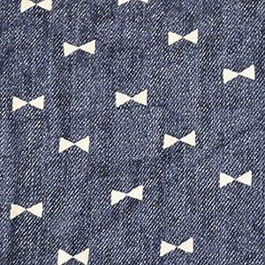 手芸のいとや 生地 ダブルガーゼ デニム風ガーゼ リボンネイビー 生地幅-約108cm×50cm 綿100%