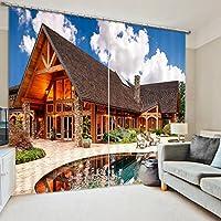 Sproud 3 D の美しいヴィラプリントカーテン寝具ルームリビングルームやホテル Cortians 厚日除けウィンドウのカーテン-260Cmx300Cm
