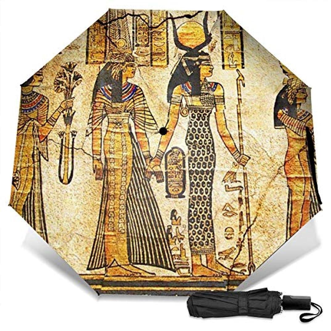 告白する魔術師用心する古代神のエジプト折りたたみ傘 軽量 手動三つ折り傘 日傘 耐風撥水 晴雨兼用 遮光遮熱 紫外線対策 携帯用かさ 出張旅行通勤 女性と男性用 (黒ゴム)
