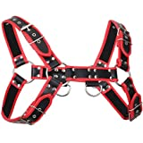 Men's Leather Body Chest Harness Belt with Double-Shoulder Cage Belt Adjustable Red