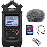 Zoom H4n Pro All Black 4-Track Portable Recorder (2020 Model) with Windscreen, Mic Attenuator Cable, 16GB Memory Card & Remot