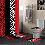Aomike 4 Piece Shower Curtain Sets Zebra Leopard Pattern Red Black Modern Abstract Art Include Non-Slip Rug, Toilet Lid Cover