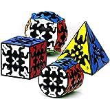 RainbowBox 歯車 ギアキューブセット競技用 歯車ピラミッド 歯車円柱 歯車ボール3x3x3歯車マジックキューブ 立体パズル 知育玩具 カーボンファイバーステッカー 4点セット 6歳以上に適していま