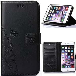 BTJP iPhone7 plus ケースiPhone7 プラス ケース (5.5インチ) 高級PUレザーケース 手帳型 可愛いオシャレ 横開きスマホケース カードポケット付き 財布型 純色 TPU 花柄 エレガント 蝶々 スタンドカバー 耐衝撃 マグネット対応 装着やすい アイフォン7 プラス専用カバー ストラップ付き 保護ファイル+タッチペン付 (IPhone7 Plus, ブルー)