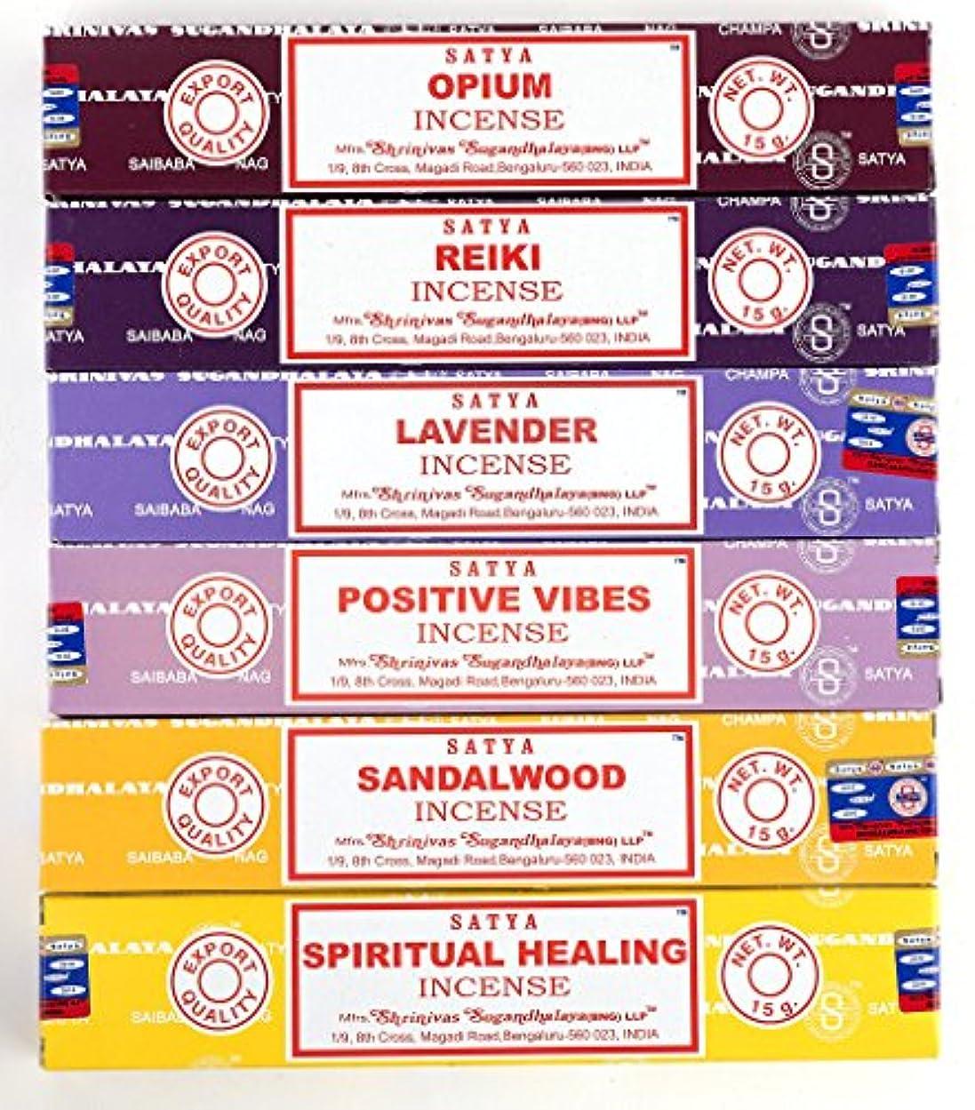 官僚傷つけるお酢Nag Champa 6 Piece Variety Pack – Opium、レイキ、ラベンダー、Positive Vibes、サンダルウッド、Spiritual Healing