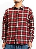 ネルシャツ メンズ 大きいサイズ 起毛 長袖 チェックシャツ 4L レッド