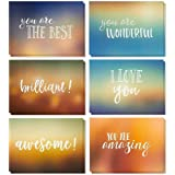 36 Pack Motivational Encouragement Greeting Cards 6 Handwritten Modern Artistic Style Colorful Designs Bulk Box Set Variety A