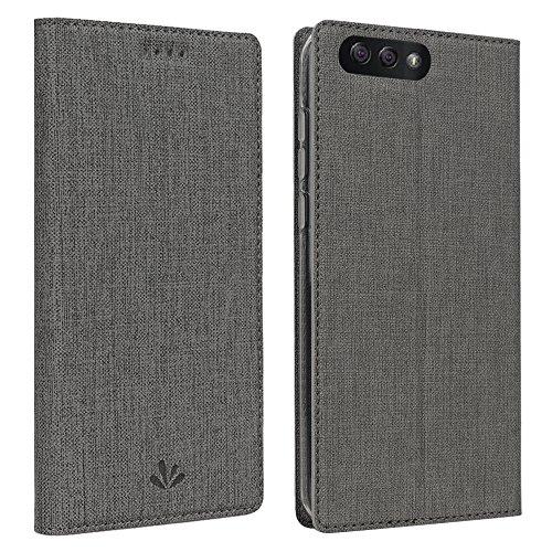 Feitenn Asus Zenfone 4 ZE554KL ケース 5.5 PU TPU ケース 全面保護 手帳型 スタンド機能 カードポケット マグネット内蔵 スマートカバー (Zenfone4 ZE554KL, グレー)