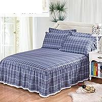 コットン一枚ベッド スカート, ツイル寝具 1.8 M 保護ベッド簡単オフ ベッド スカート分割角付きベッド スカート-H 180x200x45cm(71x79x18inch)