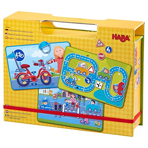 HABA Magnetic Game Box Street Sense - 118 Magnetic Pieces and 3 Background Scenes in Cardboard Carrying Case