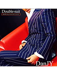 (ヌード) NU:DE ジャケット パンツ タイト メンズ ダブルスーツ(6つボタン2つ掛け) 19.ネイビー織スト(5BC550/H)