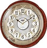 リズム時計 Small World 電波 からくり 掛け時計 スモールワールドコンベルS 30曲 メロディ 茶 4MN480RH23