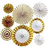 Xigeapg 8個/セットペーパーファンフラワー、ヨーロッパスタイルパーティー装飾特別なバプテスマ、結婚式家居装飾&ガーデン装飾用、ゴールド