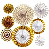 TOOGOO 8個/セットペーパーファンフラワー、ヨーロッパスタイルパーティー装飾特別なバプテスマ、結婚式家居装飾&ガーデン装飾用、ゴールド