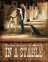 Tin Sign–True Love Is Born in a Stable [並行輸入品]