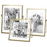 "ZONYEO Set of 3 Glass Photo Frame Collection Simple Metal Geometric Picture Frame with Plexiglas Cover Includes 4"""" x 4"""", 4"""