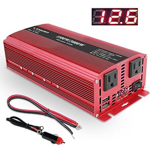 IpowerBingo知能液晶スクリーンカーインバーター 定格1500W 最大3000W 六つ保護機能車載充電器 USB 3.1A ACコンセント2口 USB2ポート 4つの外部ヒューズ DC→AC 12V 100V-110V