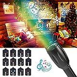 投影ライト プロジェクターライト iitrust LEDイルミネーションライト クリスマス 8曲内蔵 12枚フィルムセット付き D529-C-BLK