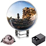 JIHUI Crystal Ball, K9 Crystal Ball Clear 3-1/5 Inch (80mm) with Crystal Stand and Pouch for Decorative Photography Prop