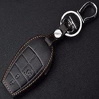 本革キーリングホルダーケース用ジープフィアットグランドチェロキーダッジジャーニージープグランドチェロキー車のスタイリングキーカバー-Black
