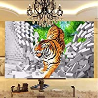 Xbwy 3Dキッズ壁紙タイガーダウン壊れた壁大型壁画用子供子供部屋壁壁画リビングルームテレビソファ背景壁3 D-280X200Cm