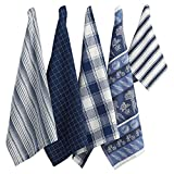 DII Assorted Pattern Kitchen Dishtowels & Dishcloth Set, 18x28 Towels & 13x13 Dishcloth, Marine Blue