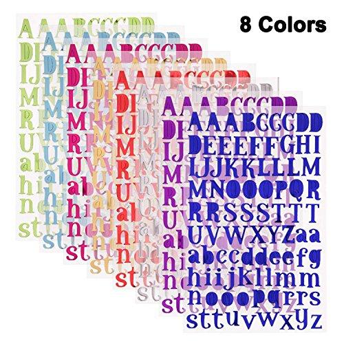 SMUER PVC製 アルファベット ステッカー セット 輝き 自己粘着性 ステッカー デカール 教育玩具 8色