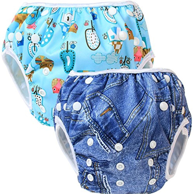 Teamoy 水遊びパンツ 2点セット 0-3歳 赤ちゃん用 ボタンでサイズ調整可能 防水外層 ポリエステルメッシュ内層 オムツカバー スイミング教室?公園?海水浴?温泉旅行(デニム+田舎生活)