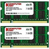 Komputerbay 4GB 2X 2GB DDR2 667MHz PC2-5300 PC2-5400 DDR2 667 (200 PIN) SODIMM ラップトップ コンピューターメモリ